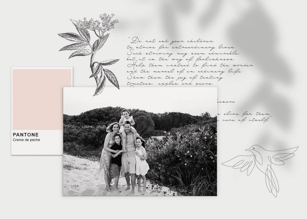 Moodboard featuring family photo, quote, colour swatch and illustrations