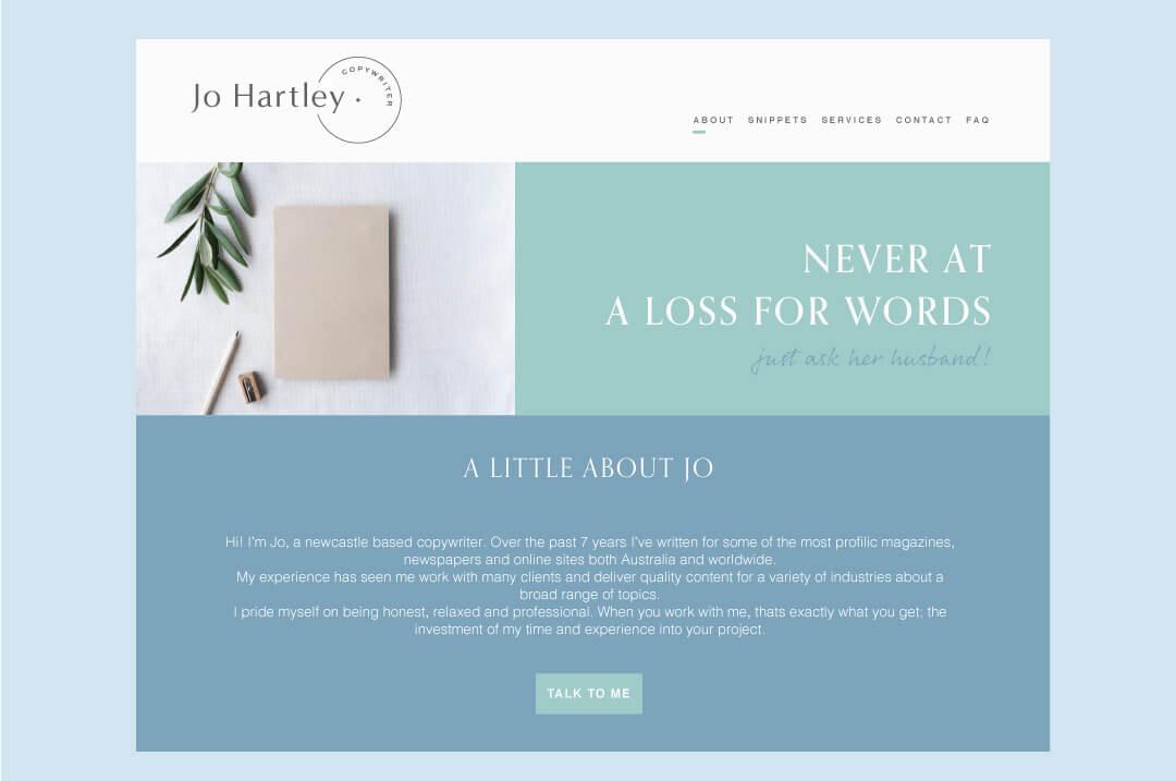 jo hartley website concept