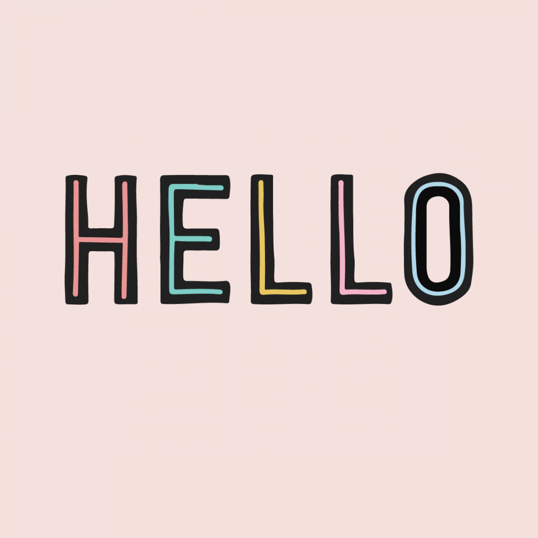 Link to Instagram - the word hello written in pastel colour and black outlines. All on a pink background.