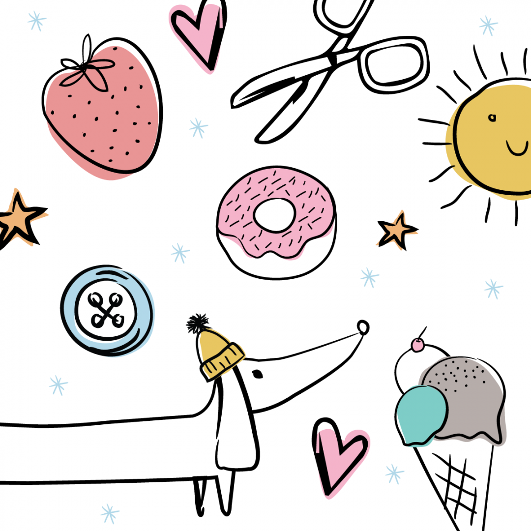 Link to Instagram - Favourite Things Illustraion - sausage dog, ice-cream, donuts, sunshine, buttons and stars
