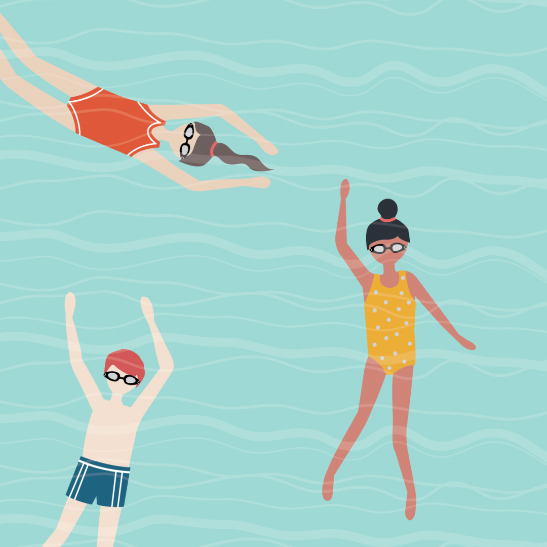 Link to Instagram - stylised illustration of 3 children swimming. Aqua blue background with white wavy lines overlayed.
